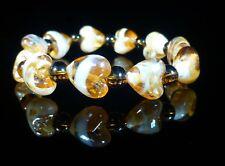 Lampwork Heart Amber Bracelet Rainbow Fashion Jewellery
