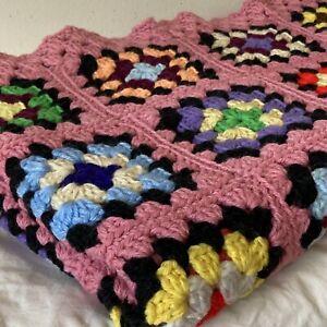 Handmade Crochet Granny Square Afghan Lap Throw Blanket 46x58 Pink Border
