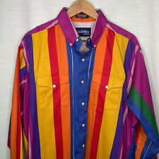 Golden West Western Multicolor Button Down Shirt Xl rainbow striped 1990s Yeehaw
