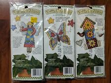 New 1995 Dimensions Flying Themed Potted Whimsy Cross Stitch Kits (3)