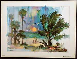 VINTAGE KEY WEST FLORIDA BEACH SUNSET WATERCOLOR PAINTING ART PRINT DICK PFAHL
