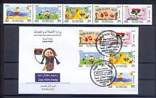2012- Libya- Children drawing- Flag- Strip of 5 Stamps (MNH**)+ FDC – scarce