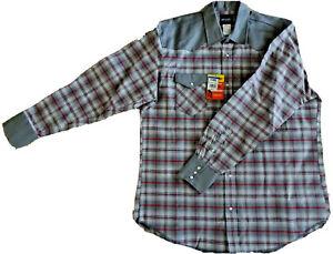 WRANGLER 2XT Western Gray Plaid Pearl Snap Canvas Work Shirt Firm Finish MS724GM