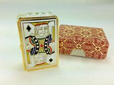 Vintage New Boxed Enamel Cloissone King of Spades Card Trinket Box  2 x 1 1/4 in