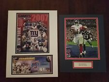 N.Y.Giants Plaxico burress matted SBXVll TD 8 by 10 photo and team photo