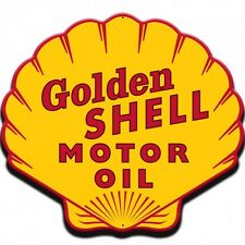 CAST IRON GOLDEN SHELL MOTOR OIL SIGN PLAQUE CLAM SHAPED WALL SIGN