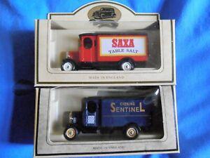 2 x Lledo LP43 Morris Delivery Vans - Evening Sentinel & Saxa Salt
