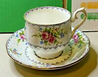 English Bone China-Royal Albert-Petit Point-Cup And Saucer-1930s-Vintage