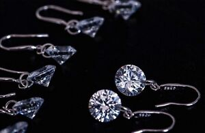 Silver Plated Pair of Round Cut CZ drop/dangle Earrings.Womens 925 Sterling