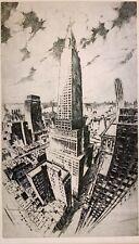 GOTTLOB BRIEM 20th c. American MODERNIST ETCHING Chrysler Building NY WPA Era