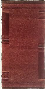 Shades of Brown Handmade 2x5 Area Rug Modish Solid Brown New Wool Carpet
