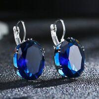 Kristall Ohrhänger Ohrringe Zirkonia Glas oval kobalt blau silber Brisur