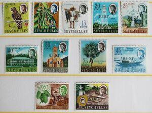 BIOT Overprints on Seychelles - P. Set (11) – Mint - (R7-E)