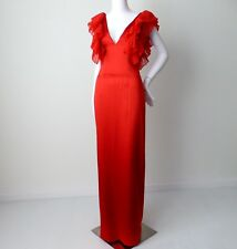 GUESS BY MARCIANO rrp $675.00 Size Small Red Silk Open Back Maxi Evening Dress