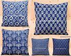 """INDIAN CUSHION COVER PILLOW CASE INDIGO BLUE FLORAL ETHNIC THROW DECOR ART 16"""""""