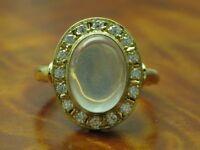 18kt 750 Gelbgold Ring mit 0,32ct Brillant & 5,00ct Monstein Besatz / RG 54