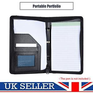 A5 Conference Folder Folio Case PU Leather Business Portfolio Ring Binder Black