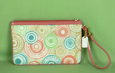 265 NEW COACH canvas Wristlet Wallet zipper signatured multi color cell phone