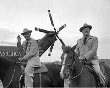 LYNDON B. JOHNSON w/ HUBERT HUMPHREY @ LBJ RANCH IN 1964 - 8X10 PHOTO (ZZ-828)