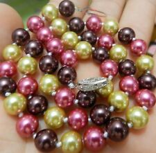 "New 8mm south sea Multicolor shell pearl necklace 18"" AAA+ YL023"