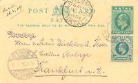 NATAL 1904 Edward VII uprated postal stationery postcard COLENSO - NATAL GERMANY