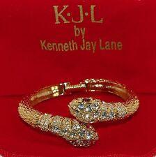 KJL Kenneth Jay Lane Crystal Double Headed Serpent Snake Bangle Bracelet Av-Lg