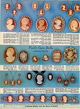 1969 ADVERTISEMENT Cameo Carnelian Shell Brooch Earrings Pendant Bracelet 14K