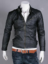 Mens Casual Premium Fashion F-Pocket Point Leather Jacket_ BLACK, US SIZE- S