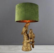 VINTAGE STYLE GOLD  PARROTS TABLE LAMP FAUX VELVET SHADED LAMP HOME DECOR