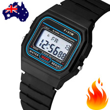 🔥 RETRO DIGITAL WATCH F-91W Black Rubber CLASSIC Wrist Electronic LED Unisex AU