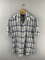 Colorado Men's Short Sleeved Button Up Shirt Size M Green White Check