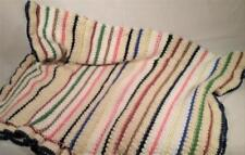 "VINTAGE 36""x 54"" HANDMADE WOOL RAINBOW AFGHAN THROW"