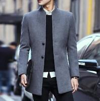 Korean Mens cashmere Wool Coat Stand Collar Winter Trench Jacket Peacoat Outwear