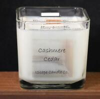 IScape Scented *Cashmere Cedar* 11 Oz. Square Jar Wood Wick Soy Candle