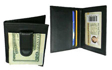 BLACK GENUINE LEATHER BIFOLD MONEY CLIP Credit Wallet Holder Metal ID Badge MC55