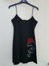 Current Mood Dolls Kill Black Red White Rose Barbed Wire Embroidered Cami...