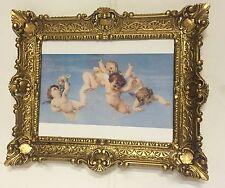 Bild mit Rahmen Barock Engelsbild 56x46 Wandbild Schutzengel Gemälde Antik
