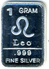 LEO ZODIAC SIGN 999 PURE DMPL SILVER PROOF GEM BU BULLION 1 GRAM ONE BAR#489