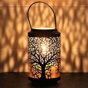 25cm Tall Tree of Life Black Votive Candle Holder Lantern Laser Cut Out Design