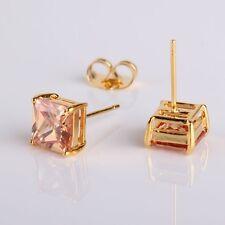 Dashing 24k yellow gold filled princess nice champagne sapphire stud earring