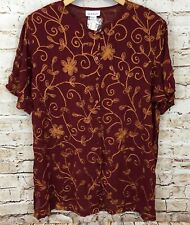 Avenue shirt blouse tunic womens 18/20 button up short slv embroidered new R8