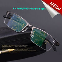Progressive Multifocal Varifocals Reading Glasses +Rx Farsighted+Anti-blue light
