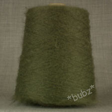 SOFT OLIVE GREEN MOHAIR WOOL BLEND YARN BIG 500g CONE 10 BALLS 2 PLY KHAKI DARK