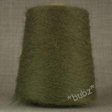 SOFT OLIVE GREEN MOHAIR WOOL BLEND YARN BIG 500g CONE 10 BALLS 2 PLY KHAKI DARK