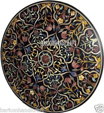 """36"""" Black Marble Coffee Round Table Top Gems Inlay Marquetry Garden Decor H2889A"""