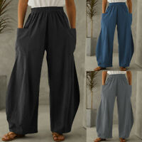 UK Women Wide Leg Palazzo Trousers Elasticated High Waist Baggy Flare Pants 8-26
