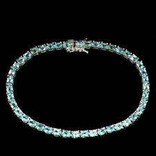 Oval Neon Blue Apatite 4x3mm 14K White Gold Plate 925 Sterling Silver Bracelet