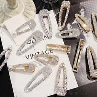Glitter Crystal Pearl Hair Clip Snap Barrette Hairpin Bobby Hair Pin For Women