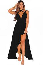 Abito lungo aperto spacco nudo aderente Scollo Chiffon Cut-Out Slit Maxi Dress M