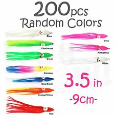 "200pcs 3.5"" 9cm Squid Skirt Hoochies Octopus Saltwater Soft Lure Random Colors"